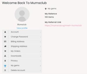 Mumsclub accounts page