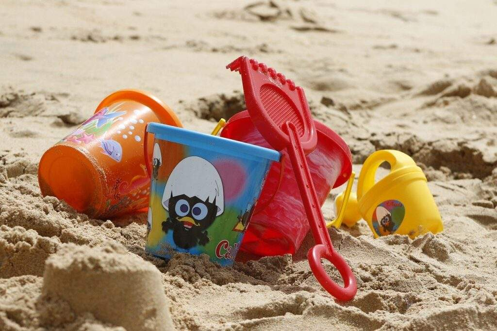 bucket, toys, sand