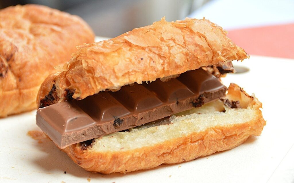 croissant, chocolate, breakfast