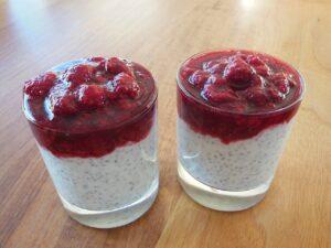 chia seeds, raspberries, dessert